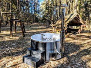 Badestamp i glassfiber med integrert ovn termo tre, sibirsk eik Wellness Scandinavia (2)