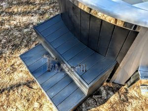 Badestamp i glassfiber med integrert ovn termo tre, sibirsk eik Wellness Scandinavia (24)
