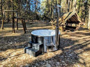 Badestamp i glassfiber med integrert ovn termo tre, sibirsk eik Wellness Scandinavia (3)