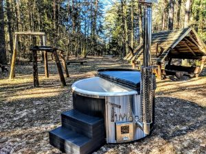 Badestamp i glassfiber med integrert ovn termo tre, sibirsk eik Wellness Scandinavia (36)