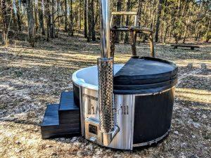 Badestamp i glassfiber med integrert ovn termo tre, sibirsk eik Wellness Scandinavia (37)