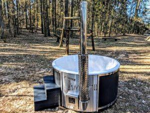 Badestamp i glassfiber med integrert ovn termo tre, sibirsk eik Wellness Scandinavia (5)