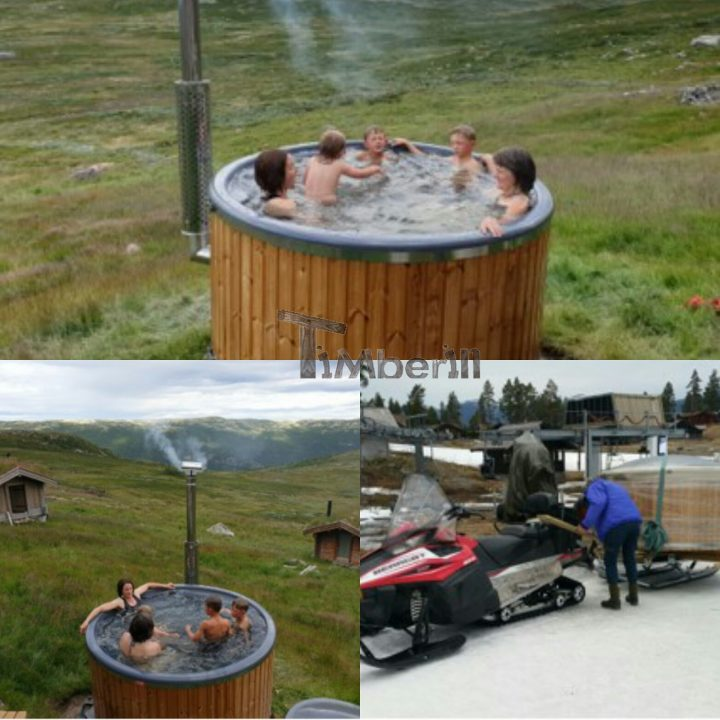 Badestamp i glassfiber med integrert ovn termo tre, sibirsk eik Wellness Royal, Mai, Rødberg, Norge